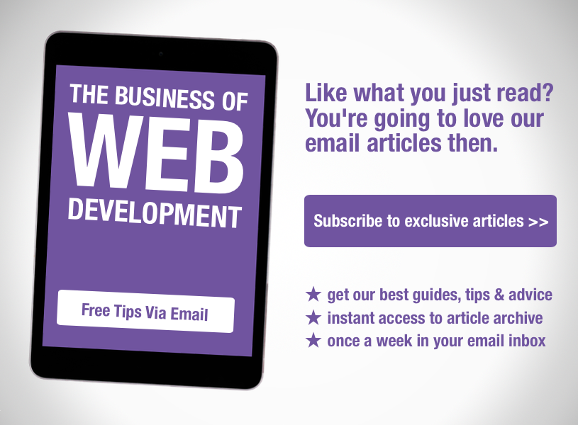 Subscribe to the weekly Simpfinity newsletter for exclusive guides and tips about the business of website development